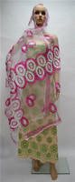 Graceful wedding/party head tie net embroidery women African scarf with rhinestones 2m*1.2m ESF8