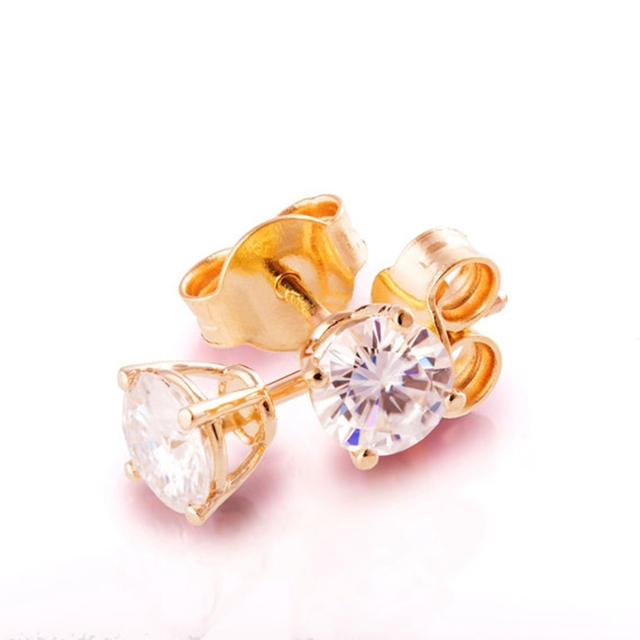 stud union diamond earrings four yellow prong gold y