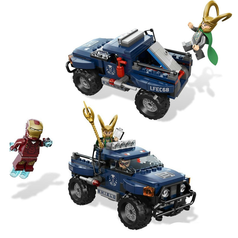 цена на Decool 7101 Avenger Super Iron Man/Loki/Hawkeye Pickup Truck Building Block Toys Brick Compatible With Legoings