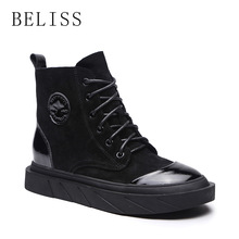 BELISS spring fall ankle boots for women platform round toe flats women boots lace up fashion casual shoes ladies cow suede B93