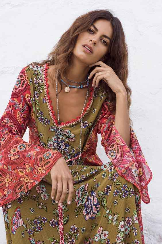 2ab4309a580b6 BOHOFREE Long Gown Floral Print Maxi Bohemian Dress V Neck Long Sleeve Boho  Style 2019 New Women Dress Gypsy Dresses Vestidos