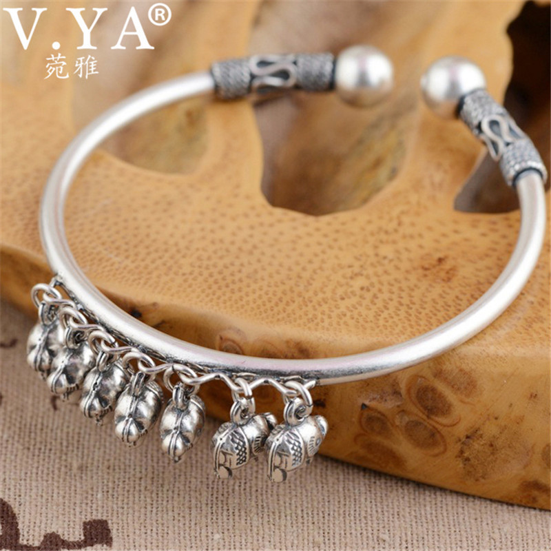 V.YA Solid 925 Sterling Silver Cuff Bracelets Bangles for Women Cute Elephant Charms Bracelet Thai Silver Jewelry Wholesale cute solid color cat s claw cuff ring for women