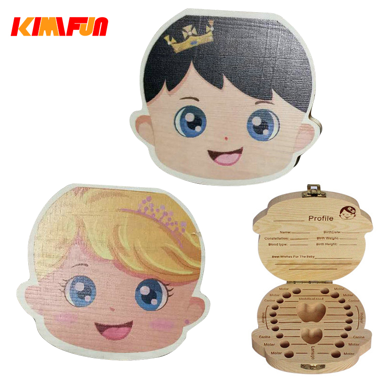 Wooden Baby Kids Tooth Storage Box English/Spanish/Russian Teeth Umbilical Lanugo Growth Gift Collect Teeth Keepsakes Save