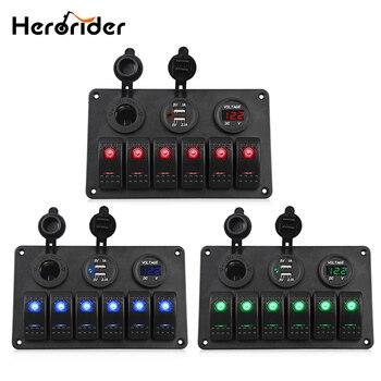 Herorider 6 banda barco basculante Panel de interruptor Dual USB cargador de coche voltímetro Auto barco marino encendedor Led COCHE interruptor panel