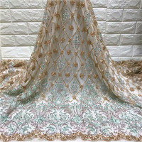 African Lace Fabric 2019 High Quality Lace Embroidery Fabric 5Y Power Blue Tulle Lace Fabric For Lace Evening Dresses green