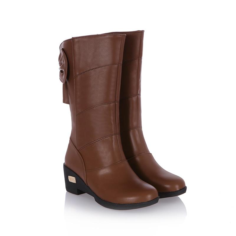 ФОТО ARMOIRE New Hot Elegant Black Brown Dark Blue Women Riding Mid Calf Martin Boots Ladies Shoes Wedges Heels A102L Bowtie