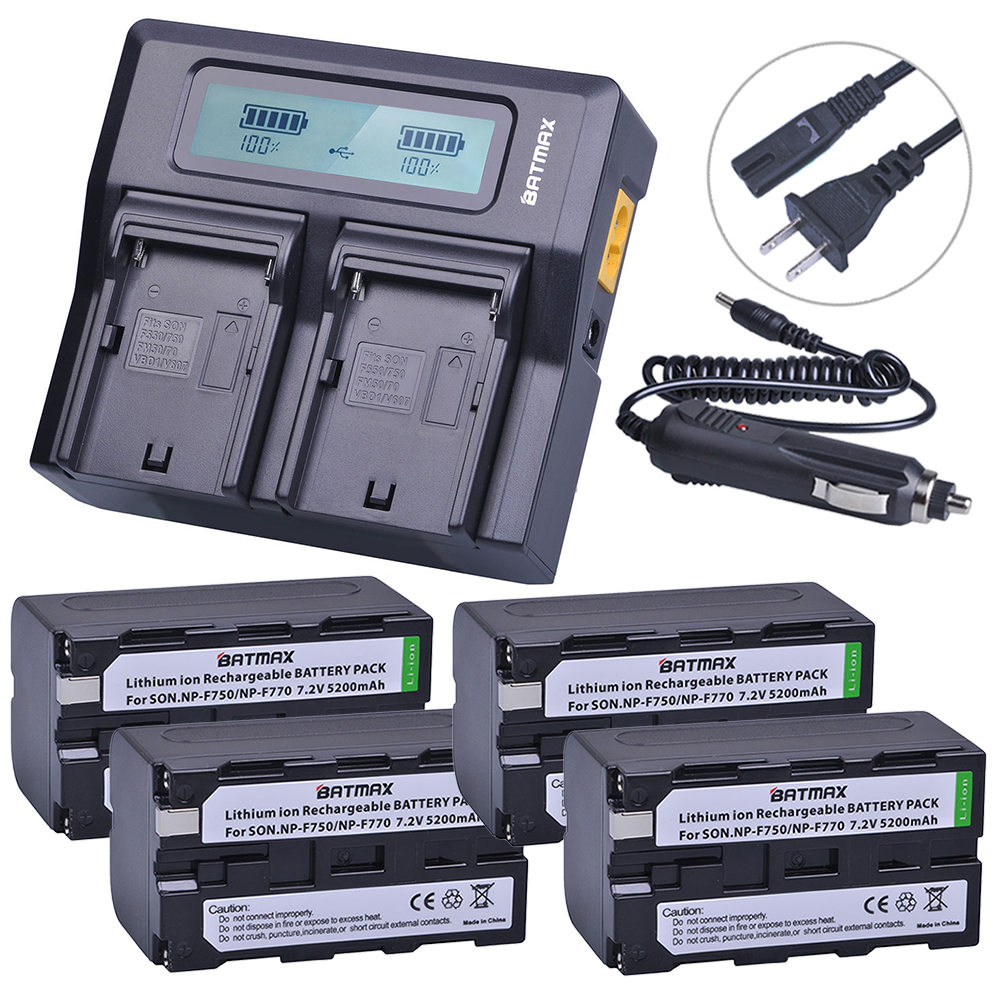 4pc Bateria NP-F750 NP-F770 NP F750 F770 Batteries+Ultra Fast 3X faster Dual Charger for Sony NP F970 F960 ccd-tr917 ccd-tr940 np f550 зарядное устройство для sony np f570 np f750 np f960 np f330 np f770