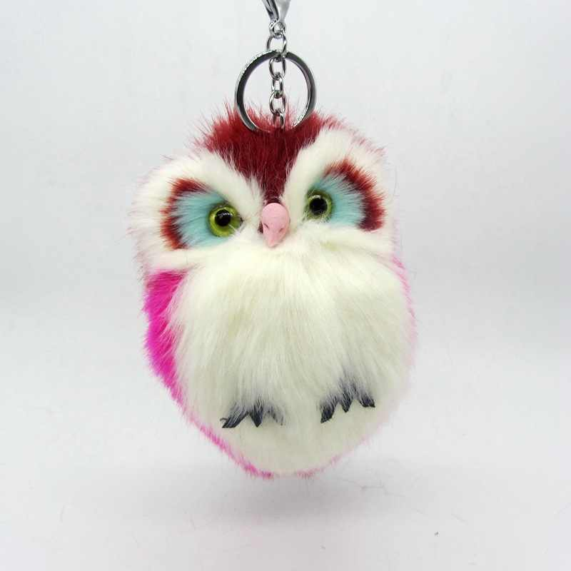 Fashion Faux Rabbit Fur Plush Toy Owl Key Chain Ring Women Bag Charms Pom Keychain Silver Car Keyring Jewelry Trinket Party Gift