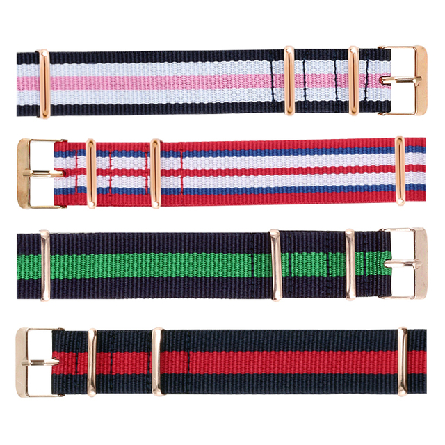 8 Colors Canvas Watchband 20mm Nylon Watch Strap Belt Metal Buckle Casual Sport