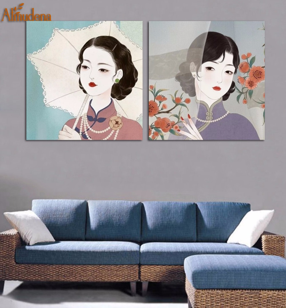 ALMUDENA Elegant Chinese Cheongsam Woman The Republic Of China Era 2 Pieces/Set Unframed Painting Canvas Art Home Decor