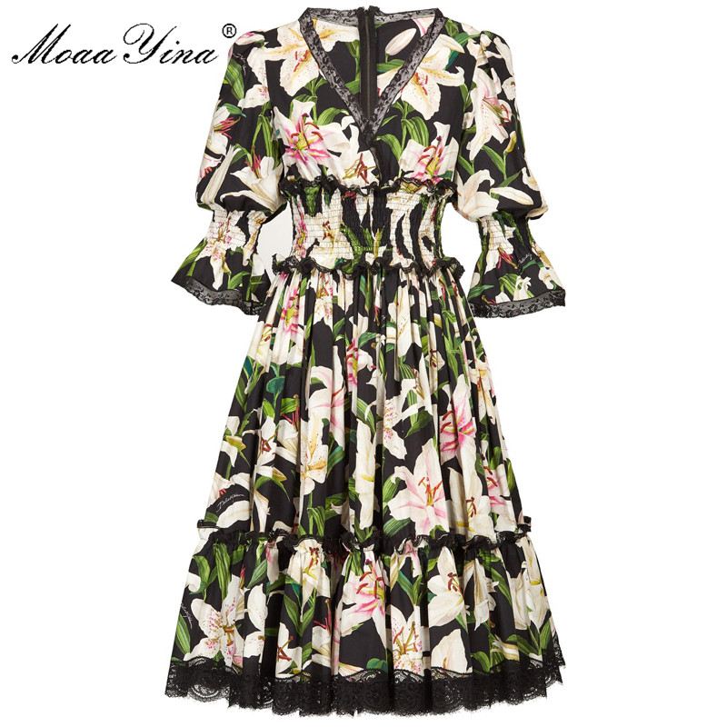 MoaaYina Fashion Designer Runway dress Spring Summer Women Dress V neck lily Floral Print Elegant Cotton