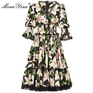 Image 1 - MoaaYina Fashion Designer Runway dress Spring Summer Women Dress V neck lily Floral Print Elegant Cotton Dresses