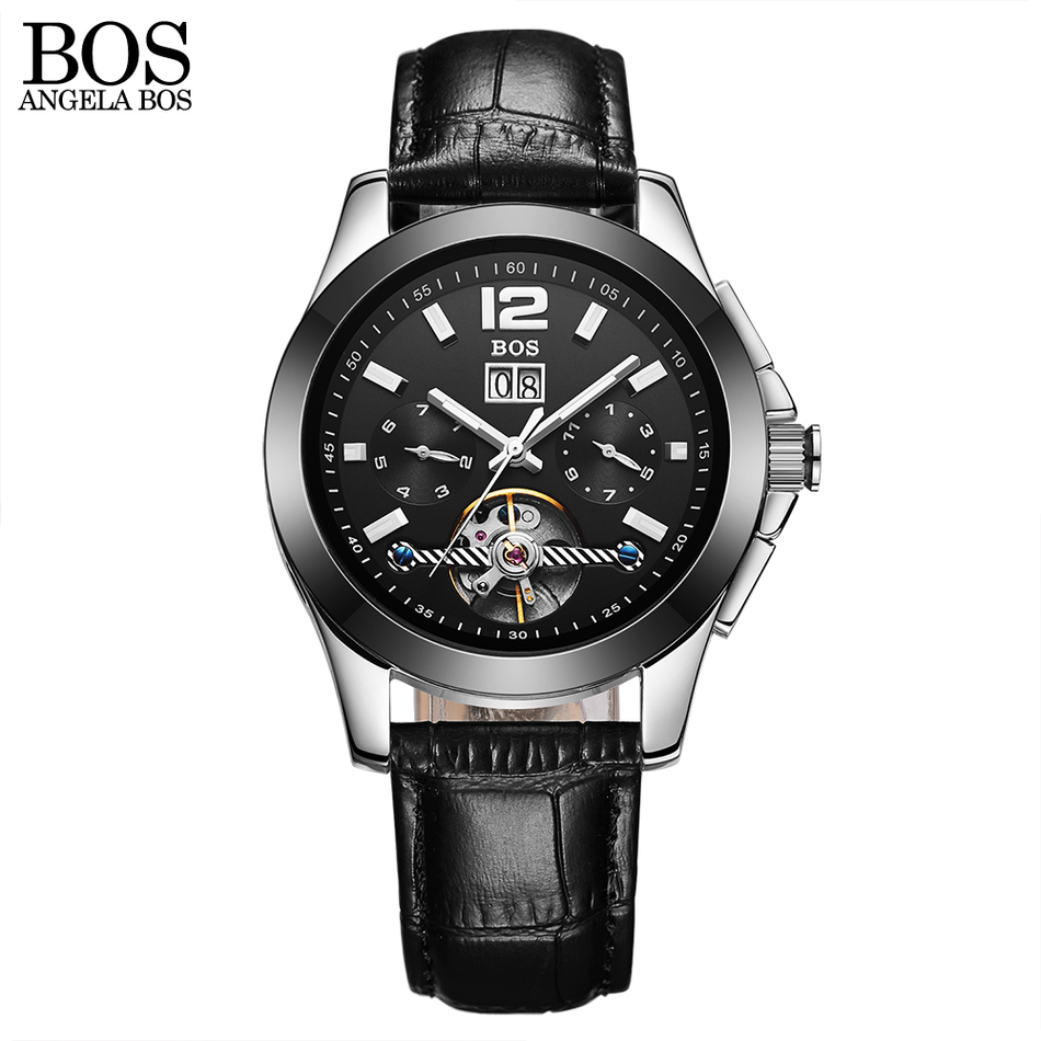 ANGELA BOS Fashion Luxury Brand Skeleton Watch Men Mechanical Automatic Leather Waterproof Date Week Luminous Wristwatch Mens angela bos ceramics stainless steel skeleton automatic watch mens mechanical waterproof date week luminous wrist watches men