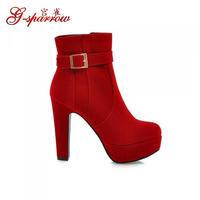 Fashion High Heels Booties Platform Winter Ankle Boots Sexy Woman Shoes Suede Black Blue Red 2015