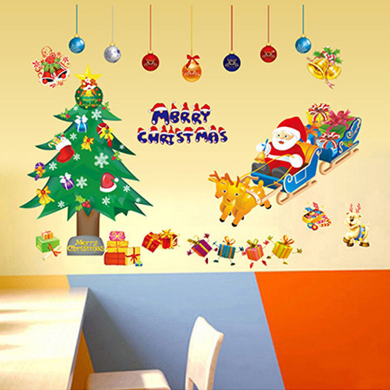 Colorfull Festival Home wall sticker Xmas Christmas Tree Santa Claus with Sled shop window decor stickers Best gift supply