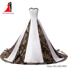 Фотография 2017 New Real Pictures Sweetheart White Satin Camouflage Wedding Dresses 2017 Strapless Plus Size Bridal Gown with Appliques