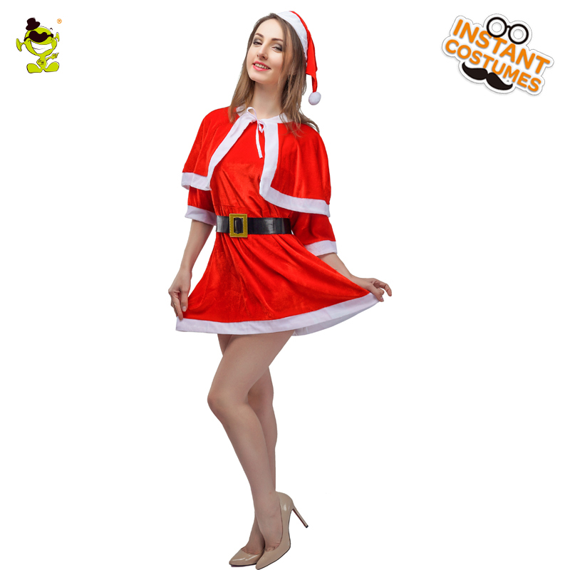 New Women's Red Sexy Santa Claus Costumes Adult Christmas Party Gorgeous Western Xmas Goddess Cosplay Fancy Dress