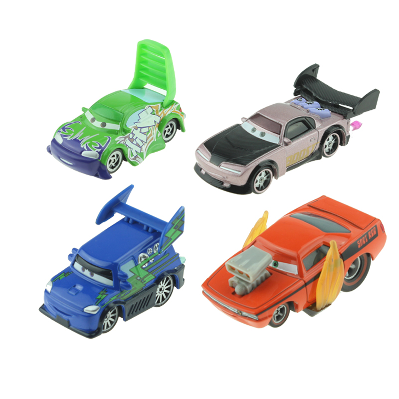 Disney Pixar Cars 4pcs/lot Snot Rod & DJ & Boost & Wingo 1:55 Diecast  Metal Toy Car Model Birthday Christmas Gift For Kids