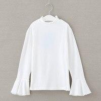 4 To 14 Years Kids Teenager Girls White Black Long Flare Sleeve Ruffle Turtleneck Cotton Casual