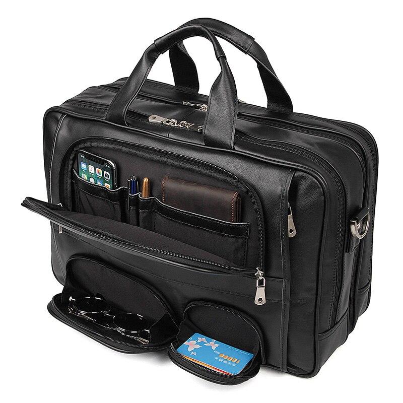 Nesitu Highend Black Genuine Leather 15.6'' Laptop Men Briefcase Portfolio Messenger Bag Big Large Business Travel Bag M7289