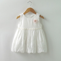 12M To 3T Baby Little Girls Summer Cotton Flower Embroidery White Princess Party Dress Toddler Girls