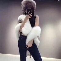 Luxury Winter Ladies' Genuine Wholeskin Mink Fur Shawls Fox Fur Collar Women Fur Pashmina Wraps Bridal Cape Coat Jacket LF4120
