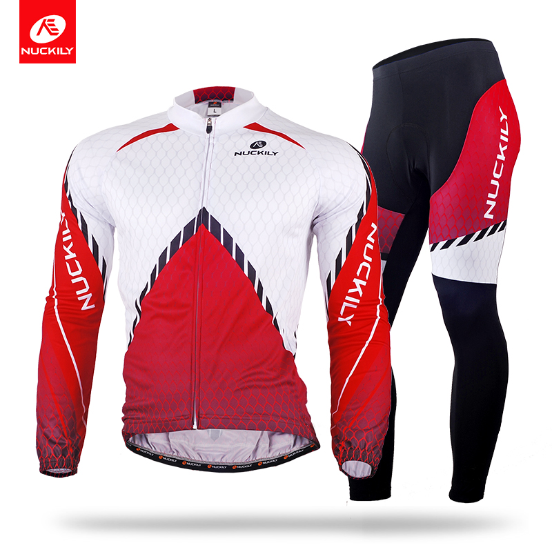 NUCKILY Winter Men's New Design Cycling Jersey Set Thermal Long Bicycle Clothing And Tights ME014MF014 veobike men long sleeves hooded waterproof windbreak sunscreen outdoor sport raincoat bike jersey bicycle cycling jacket
