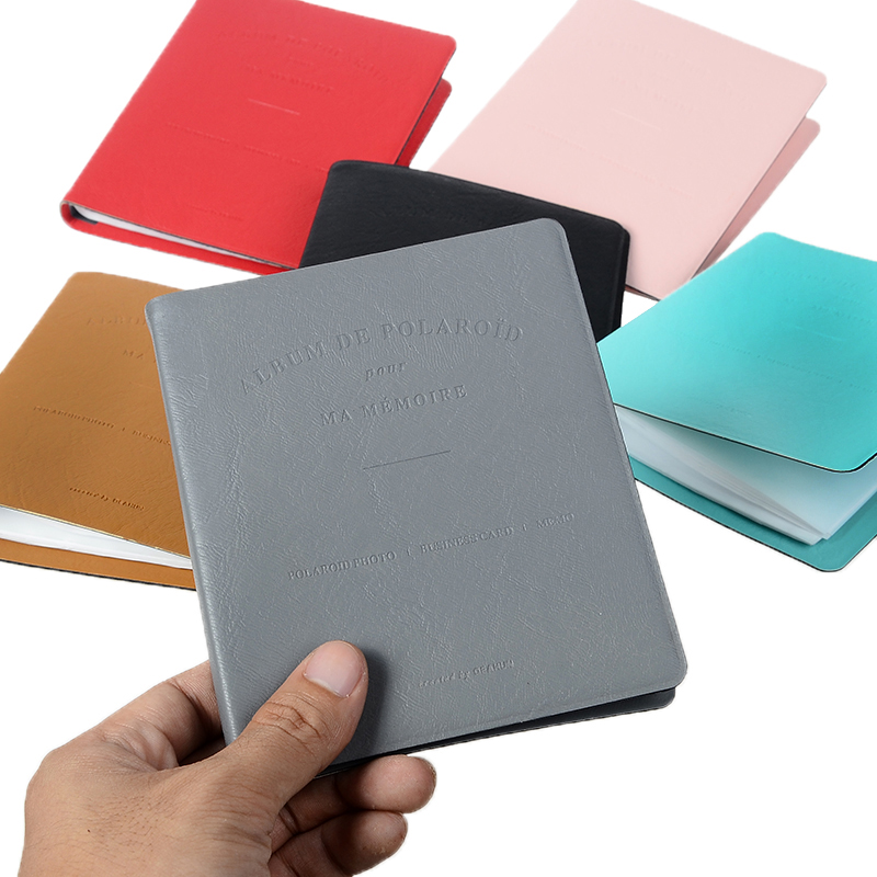 64 Pockets PVC Leather Portable Photo Album Pure Color Album for Mini Instax & Name Card 7s 8 25 50s Album de Photos image