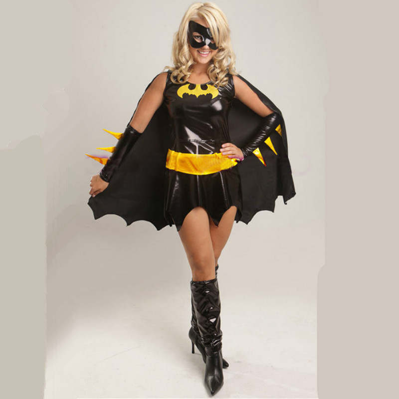 High-quality Black Batman Costume Adult Batgirl Womensexy Superhero Cosplay Mask Cape Custome Halloween Costumes For Women