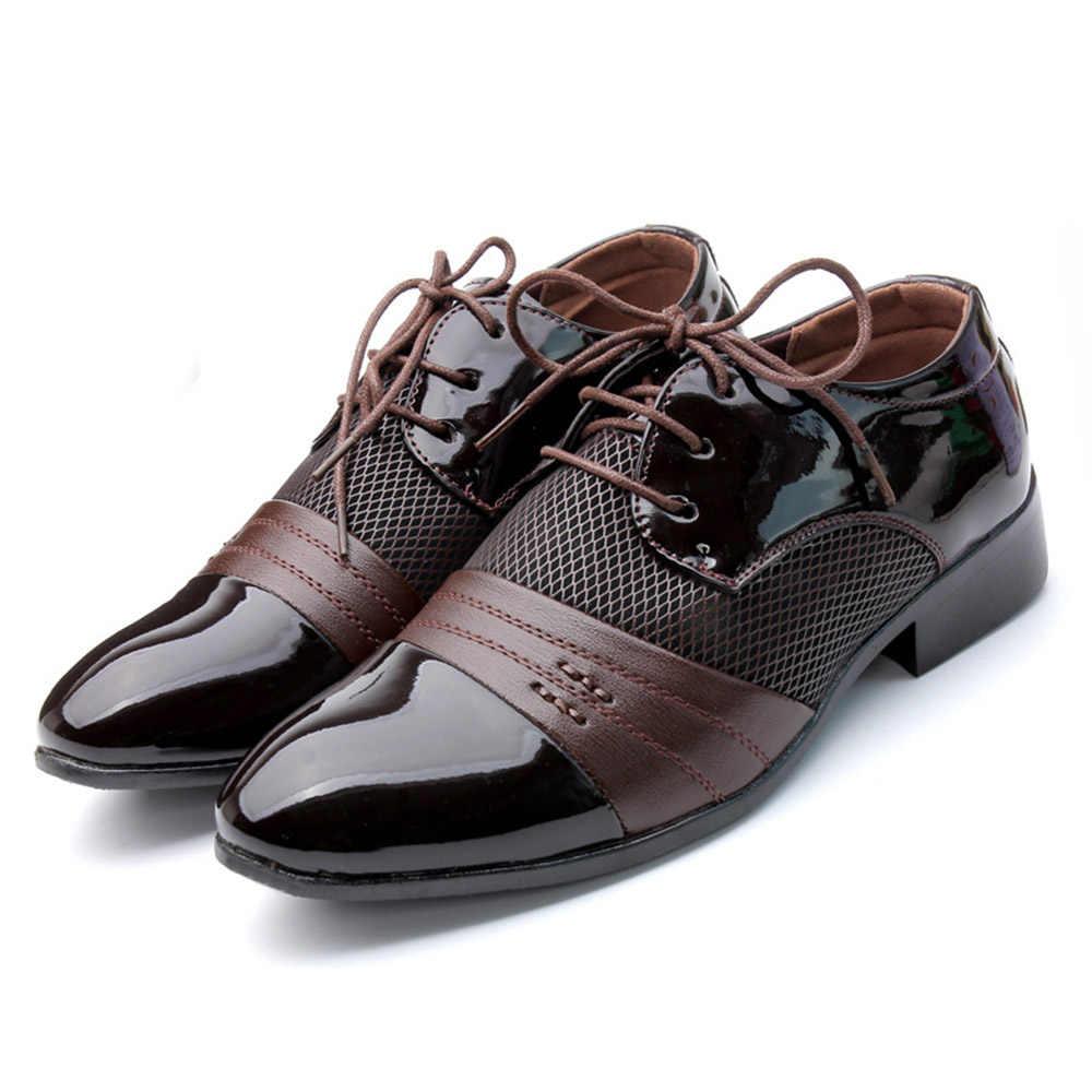 الرجال وأشار حذاء مزود بفتحة للأصابع أكسفورد بولي Leather جلد الرجال فستان أحذية الأعمال حذاء مسطح الجوف خارج تنفس الرجال مأدبة أحذية الزفاف