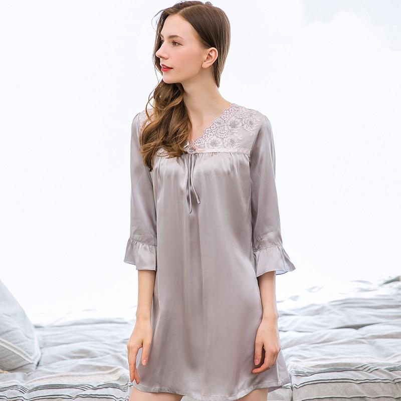 Ночная рубашка из 100% натурального шелка, ночная рубашка для женщин, 2019