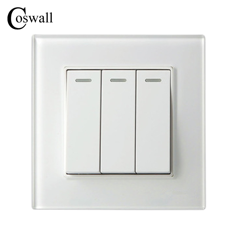 COSWALL 3 Gang 2 Way Luxury Crystal Glass Panel Light Switch Push Button Wall Switch Interruptor 16A mvava push button light wall switch 3 gang 1 way 16a 250v luxury white crystal glass panel factory direct sale free shipping