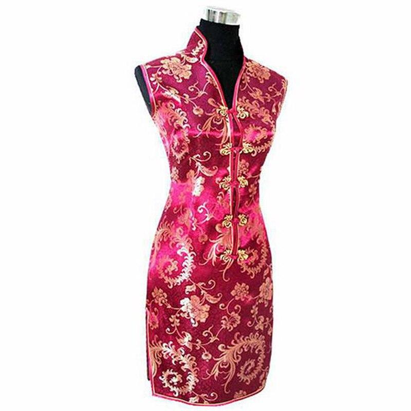 Высокая мода бордовый Для женщин шелковое вечернее платье Китайский классический мини Cheongsam Qipao Тотем и цветок Размеры размеры s m l xl XXL, XXXL ...