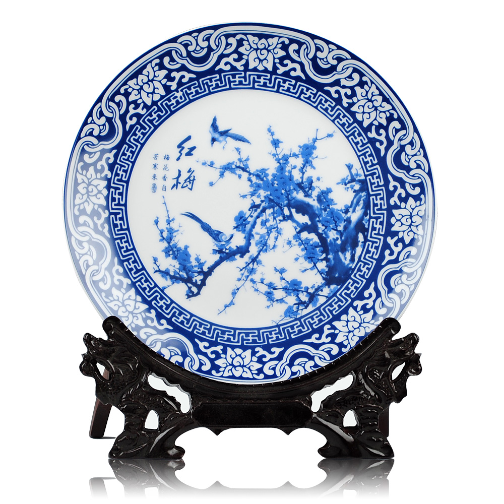 Blue And White Decorative Wall Plates Impressive Aliexpress  Buy Jingdezhen Blue And White Ceramic Meilanzhuju Decorating Inspiration