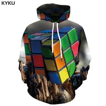 KYKU Brand Rubiks Cube Hoodie Men Squared Hoodes 3d Mountain Hoodie Print Geometric Hooded Casual Gothic Hoody Anime Long Sleeve