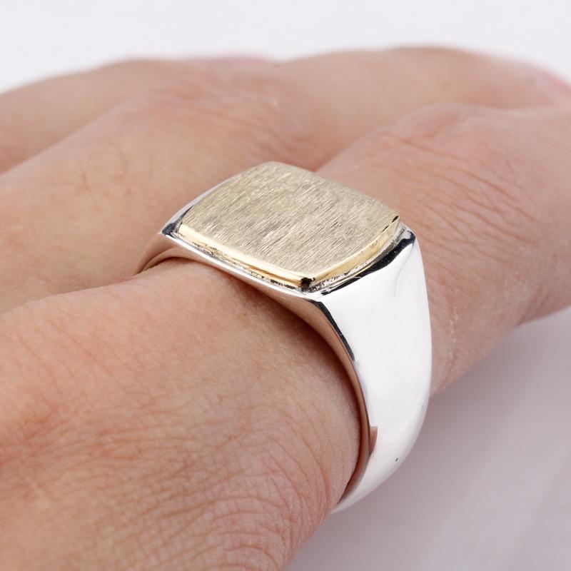 New Arrival 925 Sterling Silver Men Ring Simple Elegant Gold Color Square Brushed ring surface Vintage Men Wedding Jewelry
