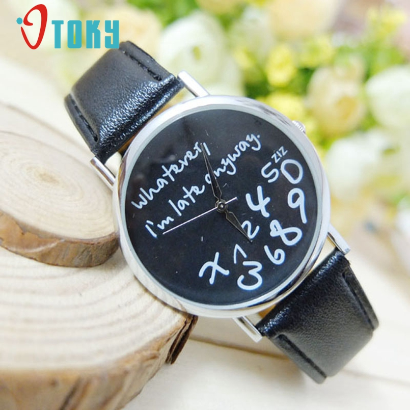 OTOKY Watch Women Watches 2017 Bracelet Casual Female Clock Men Leather Wathever I am Late Anyway Letter Print Relogio