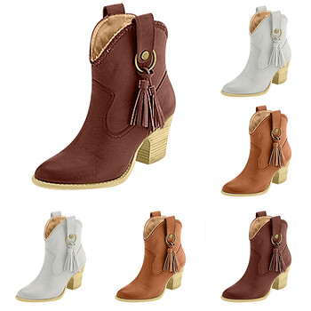 2019 brown boots shoes woman Winter Warm Fringed Booties Add Fur Large Size Square Heel Knight Boots High Heels Women's Shoes