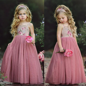 Детское длинное платье принцессы, розовое кружевное платье на бретельках с цветами, вечерние бальные платья макси для девочек на лето, 2019