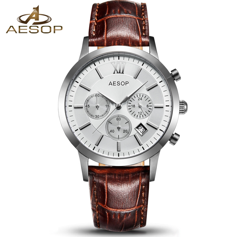AESOP Casual Watch Men Brand Sapphire Crystal Quartz Wrist Wristwatch Stopwatch Leather Male Clock Relogio Masculino Hodinky 46 cool men watch double time stopwatch luminous timing ring alarm 12 24 hour men wrist watch clock relogio masculino watch