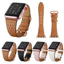 Genuine Leather watch strap for apple watch band 44mm 4 42mm 38mm belt high quality bracelet for iwatch series 3/2/1 40mm leather band for apple watch 40mm 44mm series 4 high quality mixed color replacement strap for iwatch series 1&2&3 38mm 42mm