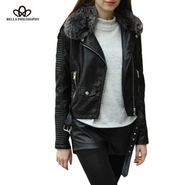 Bella Philosophy новый обирали искусственного меха воротник ПУ кожа женщины куртка двигателя пальто молния