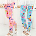 high quality 2-7years baby girl clothes kids elastic leggings children candy color flower lovely flower pants free shipping