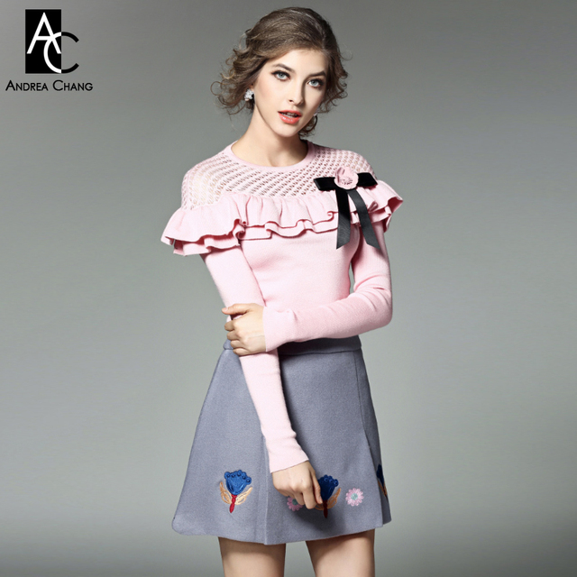 autumn winter runway designer woman clothing set black pink sweater flower bow brooch ruffle shoulder embroidery skirt cute suit