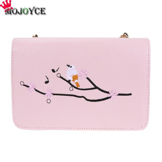 5a5d80d2e1 Women Bag Fashion Embroidery Flower Shoulder Bag High Quality PU Leather  Flap Bag Chain Design Messenger Bags Bolsa