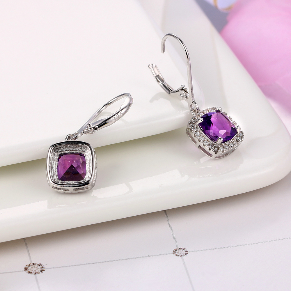 MoBuy MBEI001 Cushion Natrual Gemstone Amethyst Drop/Dangle Earring - Fine Jewelry - Photo 4