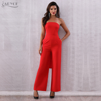 ADYCE 2019 New Summer Women Celebrity Runway Jumpsuits Elegant Strapless Bow Red Rompers Jumpsuit Sexy Bodycon Bodysuit Vestidos