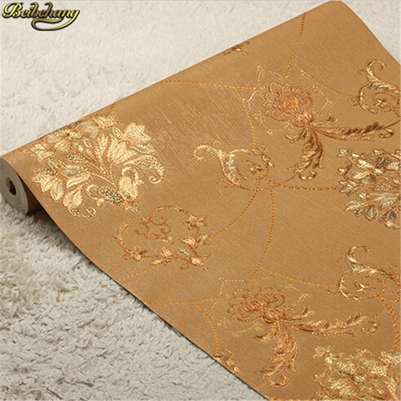 beibehang Luxury gold foil three-dimensional pastoral flower hotel decoration ceiling gold waterproof luxury wallpaper одежда для сна gold three pagodas