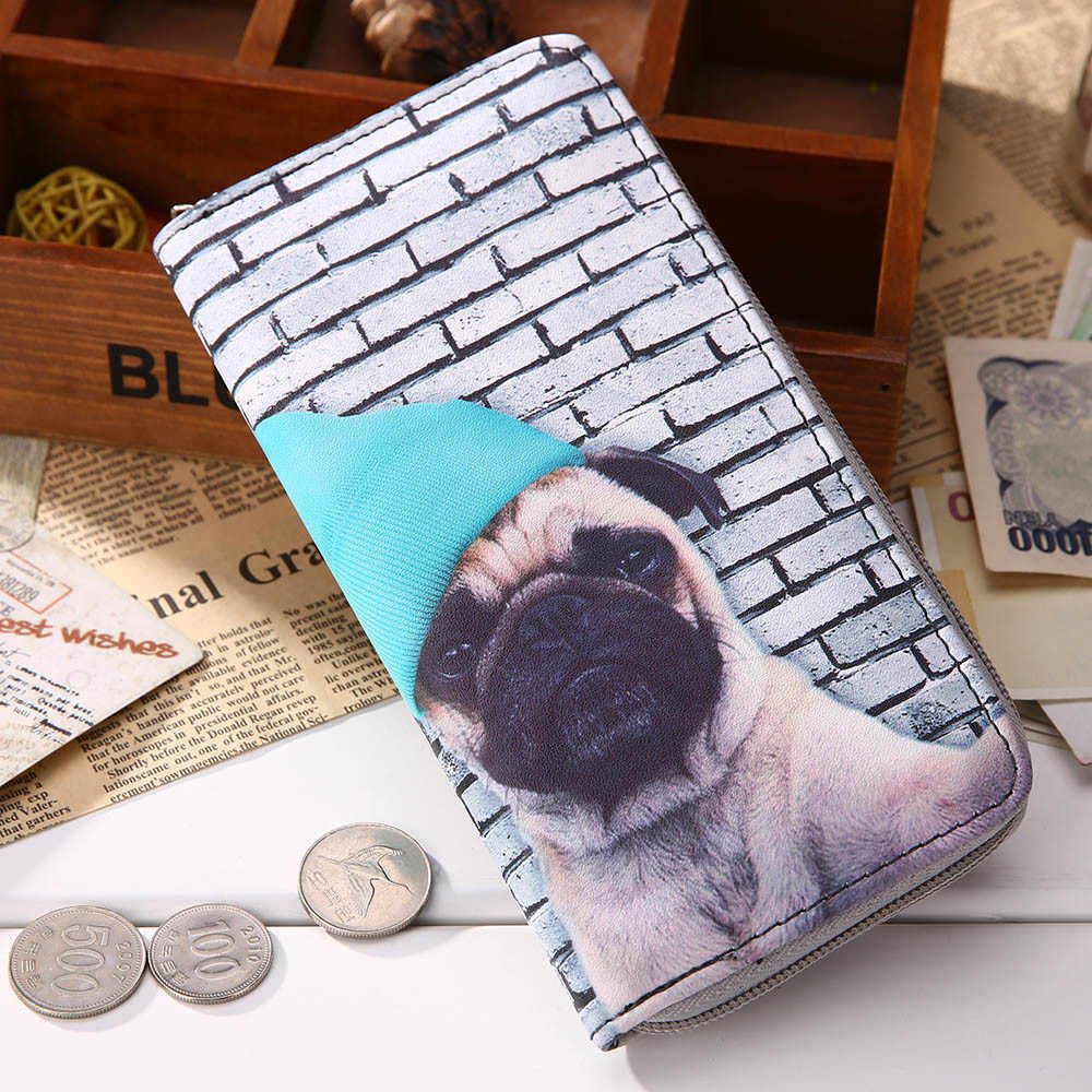 Nueva moda 2018 animales Sharpei Pug lindo perro estampado Mujer damas monedero de diseñador monedero titular de la tarjeta cartera con cremallera