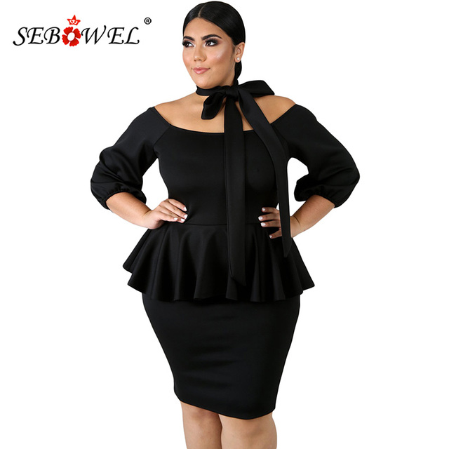 SEBOWEL Casual Autumn Black/White Plus Size Peplum Dress Women ...